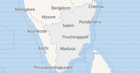 Mappa di Tamil Nadu