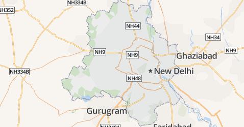 Nationaal Hoofdstedelijk Territorium van Delhi kaart