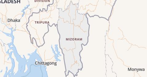 Mizoram kaart