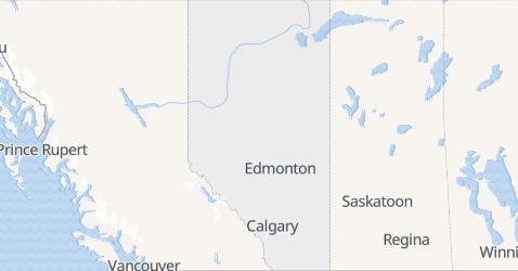 Alberta - szczegółowa mapa