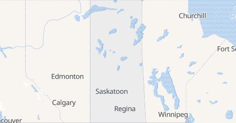 Saskatchewan - szczegółowa mapa