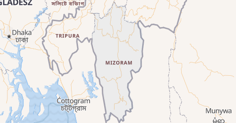 Mizoram - szczegółowa mapa