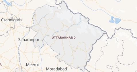 Uttarakhand - szczegółowa mapa