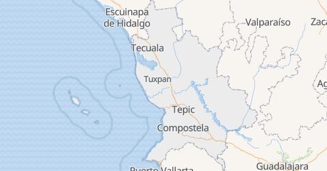Nayarit - szczegółowa mapa