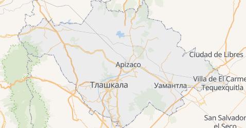 Тласкала - мапа