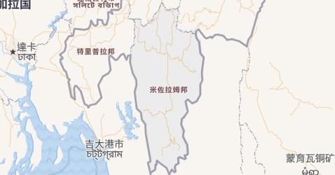 米佐拉姆邦地图