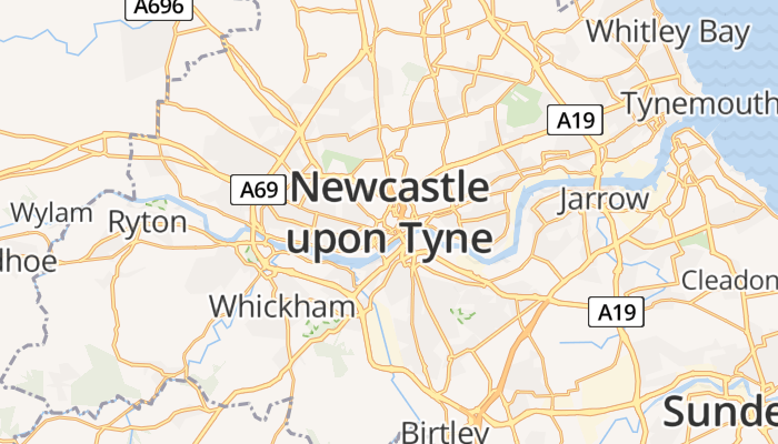 Newcastle upon Tyne online kaart