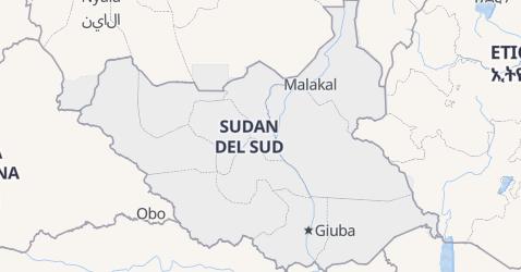 Mappa di Sudan del Sud