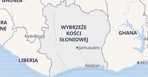 Wybrzeże Kości Słoniowej - szczegółowa mapa