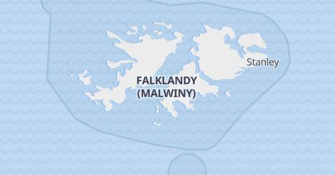 Falklandy - szczegółowa mapa