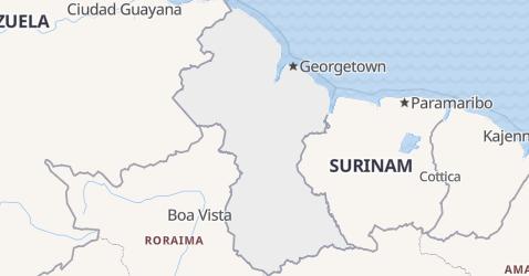 Gujana - szczegółowa mapa