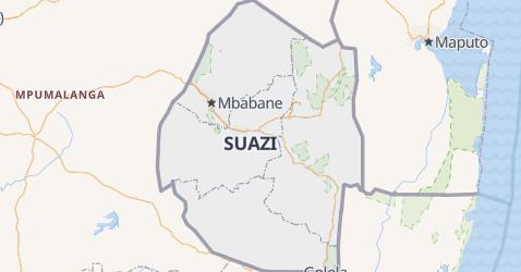 Królestwo Suazi - szczegółowa mapa