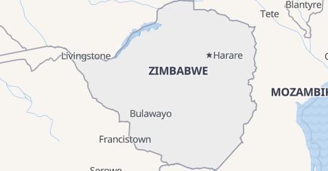 Zimbabwe - szczegółowa mapa