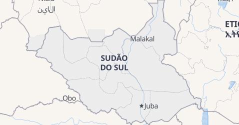 Mapa de Sudão do Sul