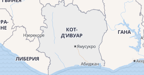 Кот д'Ивуар - карта