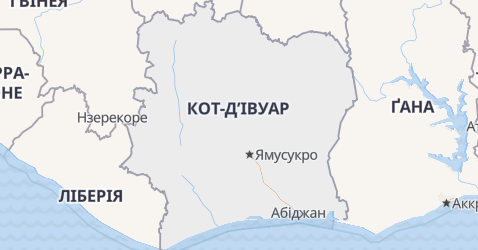 Кот Д'Івуар - мапа