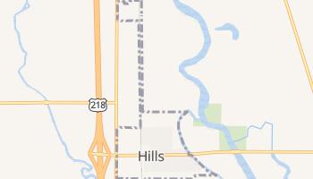 Hills, Iowa map