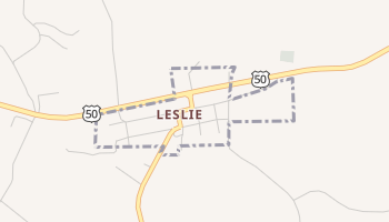 Leslie, Missouri map