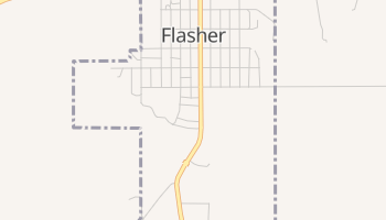 Flasher, North Dakota map