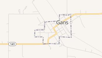Gans, Oklahoma map