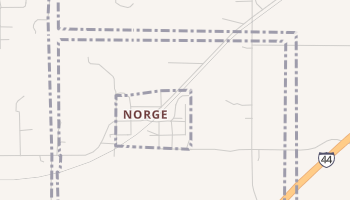 Norge, Oklahoma map