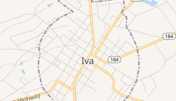 Iva, South Carolina map