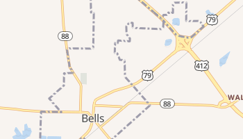 Bells, Tennessee map