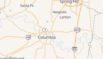 Columbia, Tennessee map