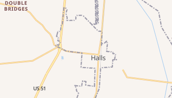 Halls, Tennessee map
