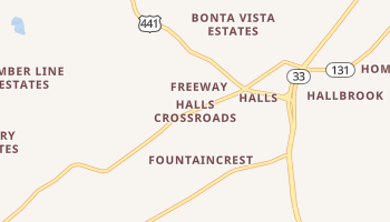 Halls Crossroads, Tennessee map