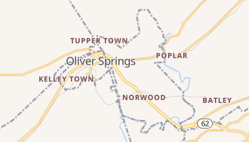 Oliver Springs, Tennessee map