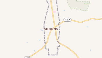 Shouns, Tennessee map