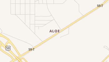 Aloe, Texas map