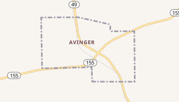 Avinger, Texas map
