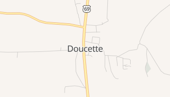 Doucette, Texas map
