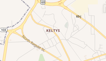 Keltys, Texas map