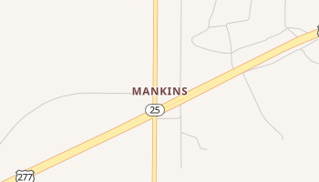 Mankins, Texas map