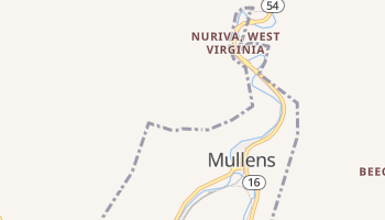 Mullens, West Virginia map
