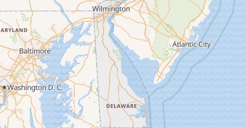 Mapa de Delaware
