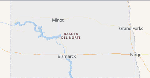 Mapa de Dakota del Norte