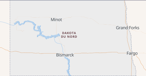 Carte de Dakota du Nord