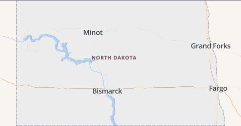 North Dakota kaart