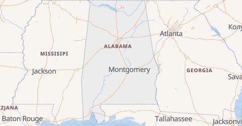 Alabama - szczegółowa mapa