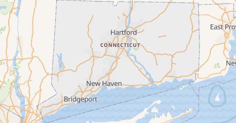 Connecticut - szczegółowa mapa