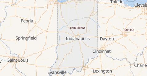 Indiana - szczegółowa mapa