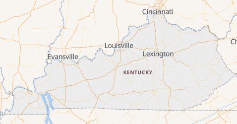 Kentucky - szczegółowa mapa