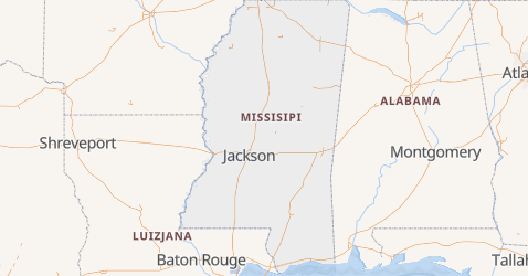 Missisipi - szczegółowa mapa