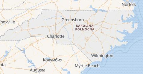 Karolina Północna - szczegółowa mapa