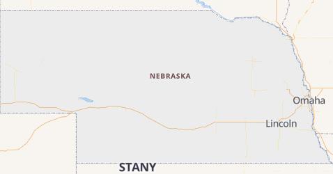 Nebraska - szczegółowa mapa