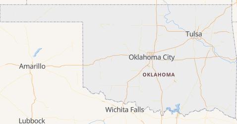 Oklahoma - szczegółowa mapa